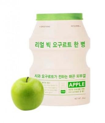 Тканевая маска йогуртовая с яблоком A'PIEU Яблоко Real Big Yogurt One-Bottle Apple 21г: фото